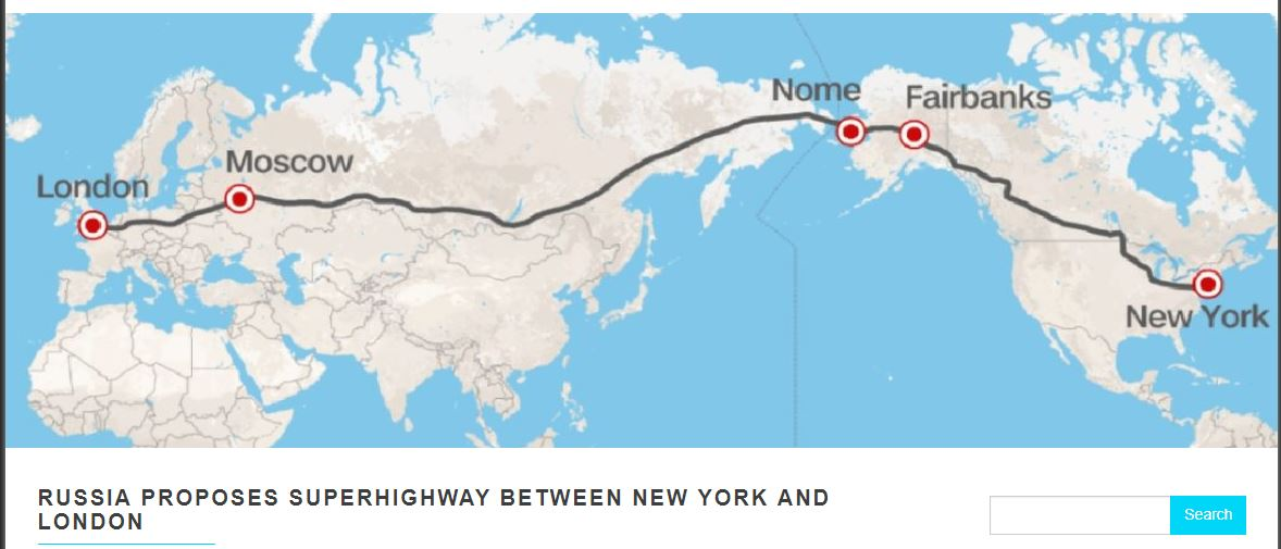 Russia has proposed to build a road stretching all the way from London to New York